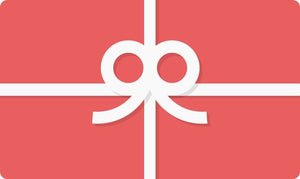 RED GIFT CARD WITH WHITE BOW TO SHOP APPAREL AT JUNEANDJANUARY.COM