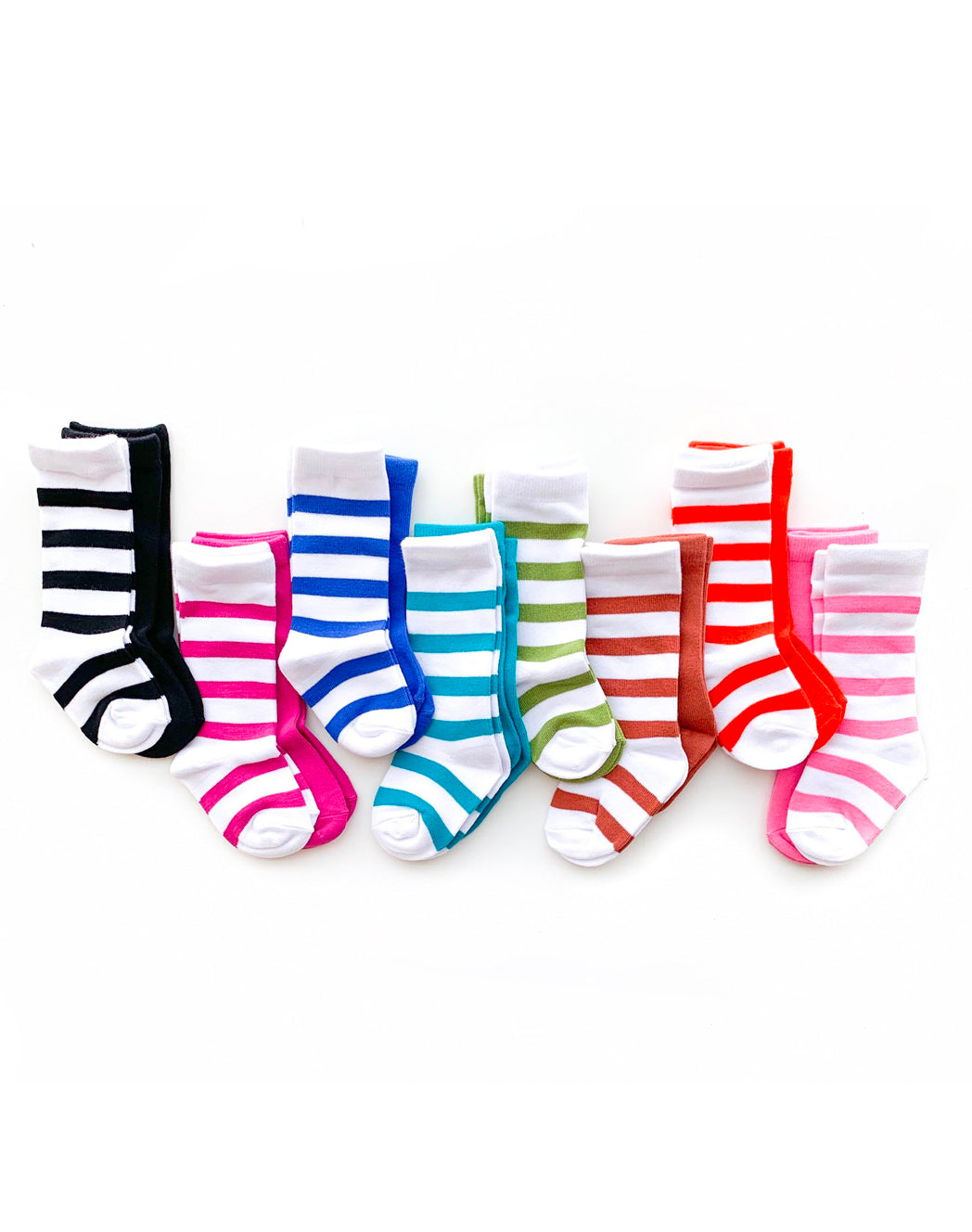 FULL LINE UP OF TALL SOCKS SHOWN ON A WHITE BACKGROUND