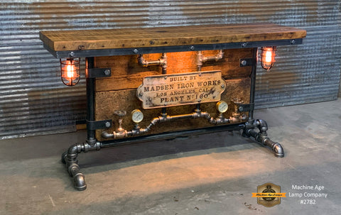 Antique Steampunk Industrial Boiler Door Table Stand / Iron Works Los Angeles Ca  / Reclaimed BarnWood Top - #2782