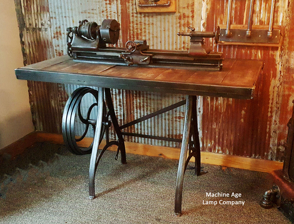Rare Antique Barnes Lathe Pub Table Stand Reclaimed Wood Top - Reclaimed wood high top table