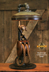 Steampunk Industrial / Antique Wood Block and Tackle Pulley  / Antique Chicken Feeder Shade / Gear / Lamp #2487