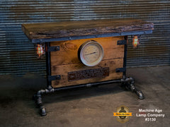 Steampunk Industrial Table / Antique Barn Wood / Antique Railroad Builder Plate  / Steam Gauge / Hallway Sofa Table #3130