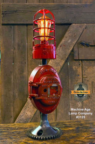 Steampunk Industrial Machine Age Lamp / Fireman / Police / Antique Call box / Alarm / Lamp #3125