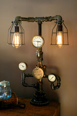 Triple Steam Gauge Lamp Ser #22 - SOLD