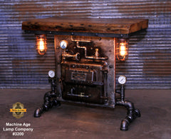 Steampunk Industrial Table / Pub, sofa console / Antique Furnace Door / Barnwood / Table #3200