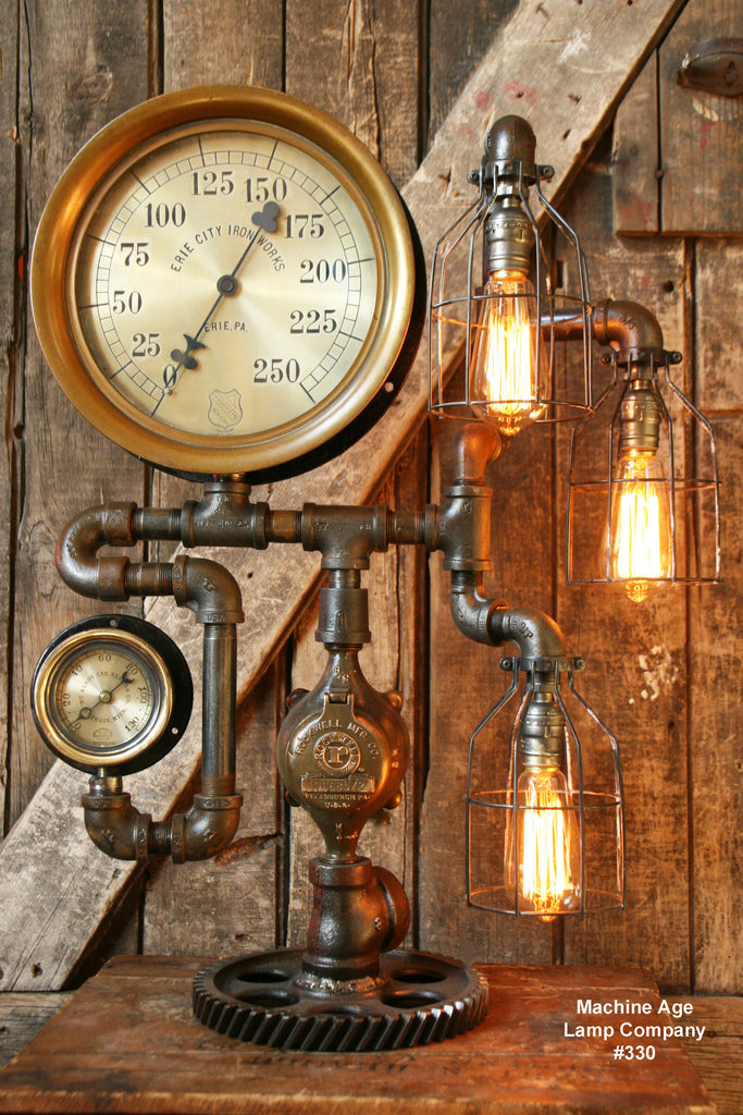 "Used Cars Erie Pa >> Steampunk Lamp, Antique 12"" Steam Gauge and Gear Base #330 ..."