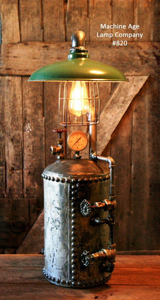 Steampunk Industrial, Antique Hot Water Expansion Tank Lamp #820 - SOLD