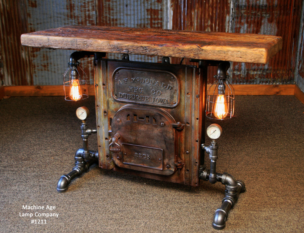 Steampunk Industrial Table Antique Boiler Door Steam Gauge Barn