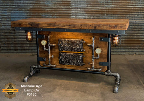 Steampunk Industrial Table / Antique Barn Wood / Furnace Door / Hallway Sofa Table #3185 sold
