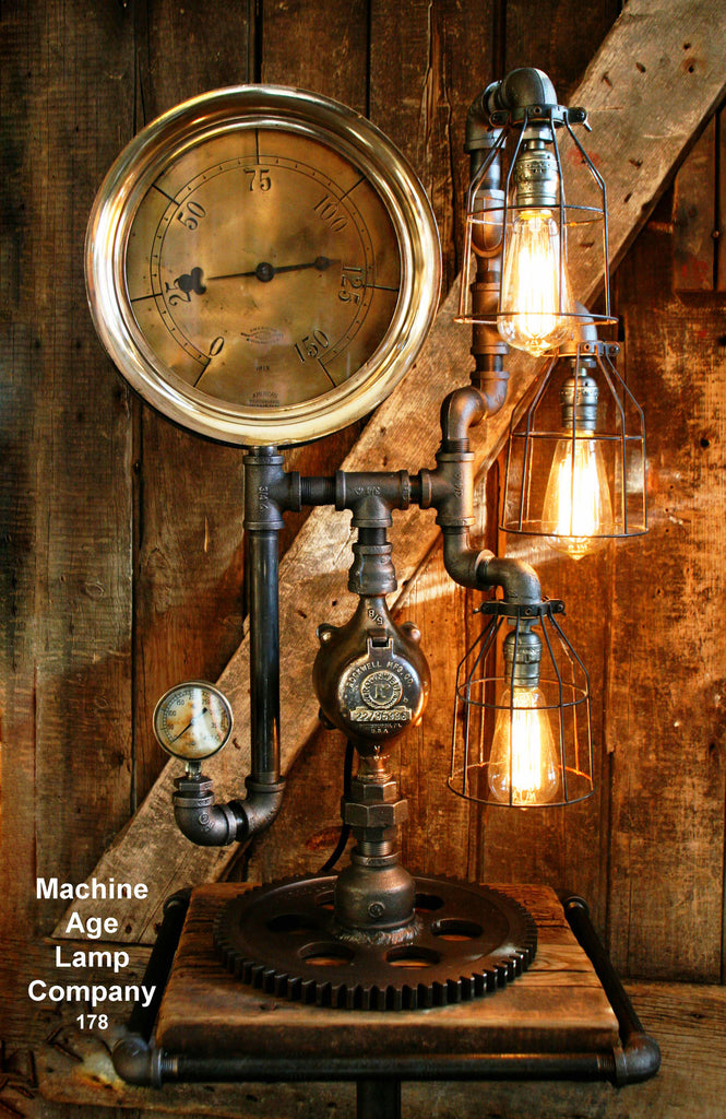 Steampunk Lamp, Antique Steam Gauge and Gear Base #178 - SOLD