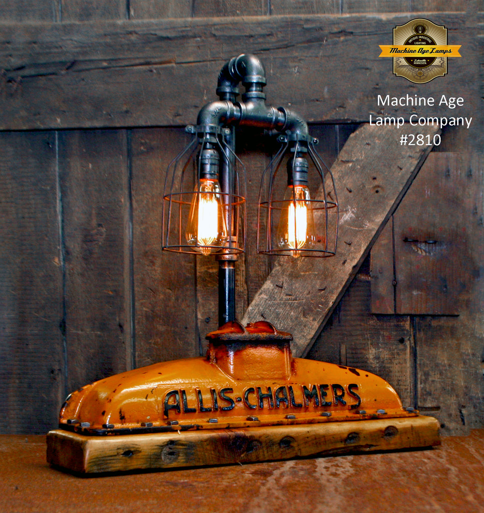 Steampunk Industrial / Allis Chalmers Tractor Radiator / Farm / Barnwood Base Lamp Light #2810