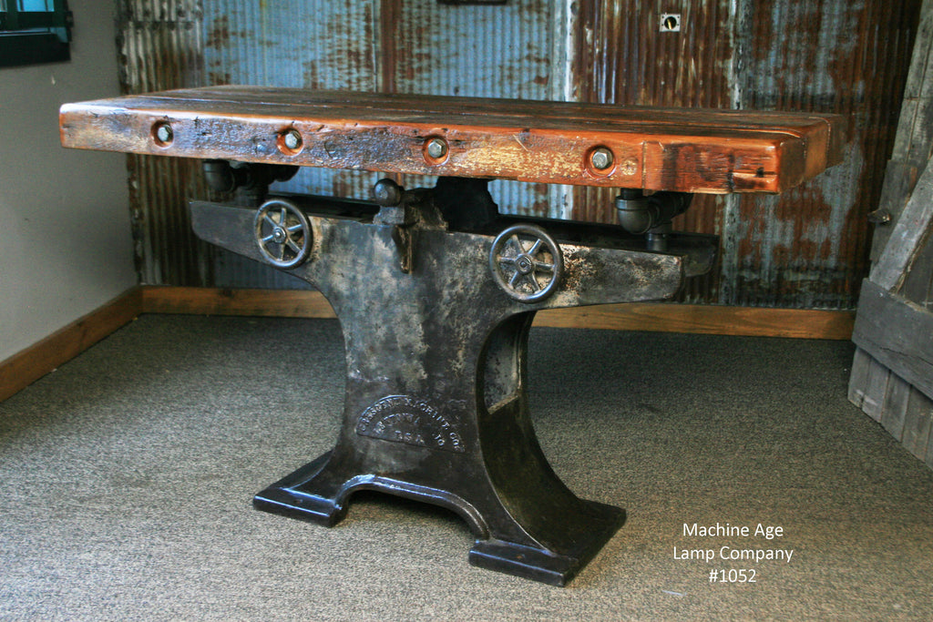 Steampunk Industrial Table, Barn Wood Console #1052   SOLD