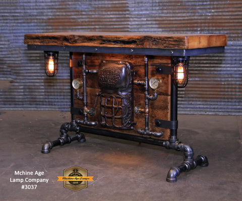 Steampunk Industirial Table / Antique Barn Wood / Furnace Door / Hallway Sofa Table #3037
