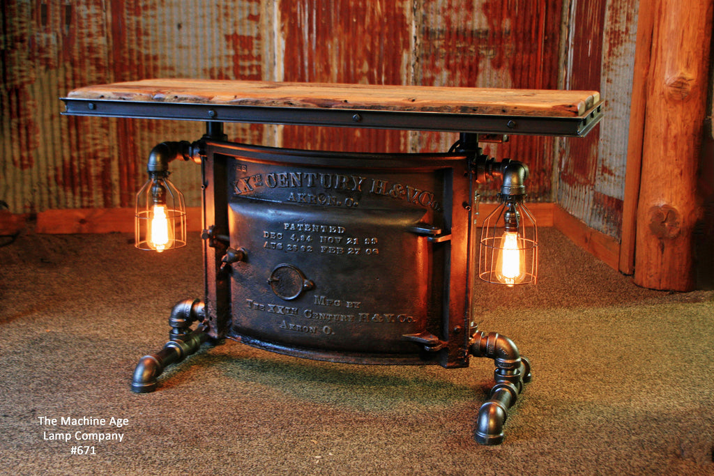 Antique Steampunk Industrial Boiler Door Table Stand, Reclaimed Wood Top,  Akron Ohio   #