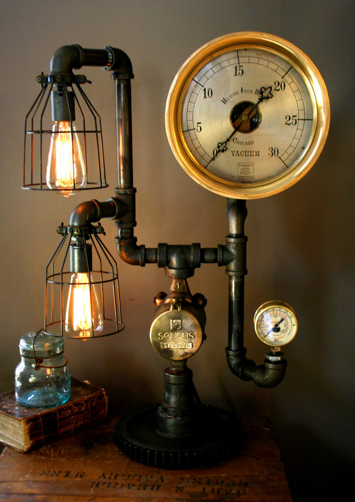 Machine Age Steampunk Steam Gauge Lamp  #44 -SOLD