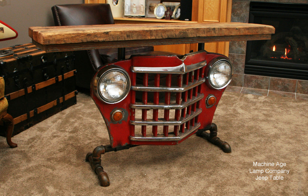 Industrial Antique Jeep Cj Military Willys Grill Table Or
