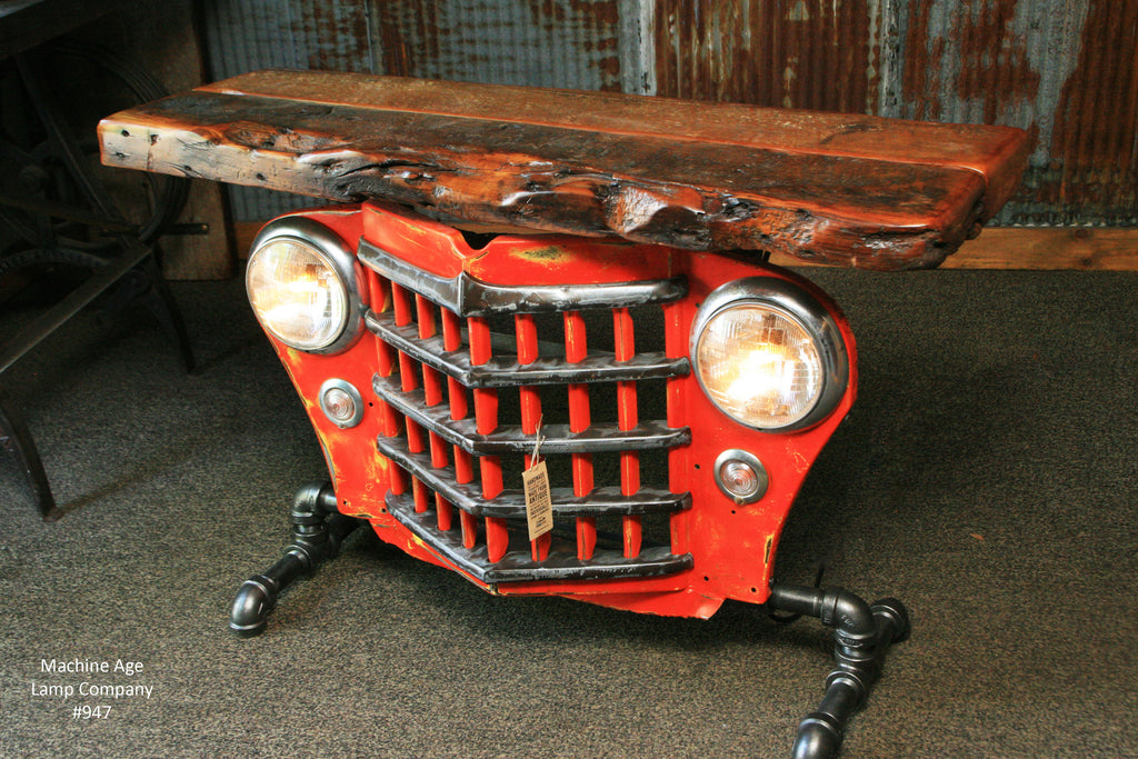Steampunk Industrial Table, Jeep Willys Console Table, #947