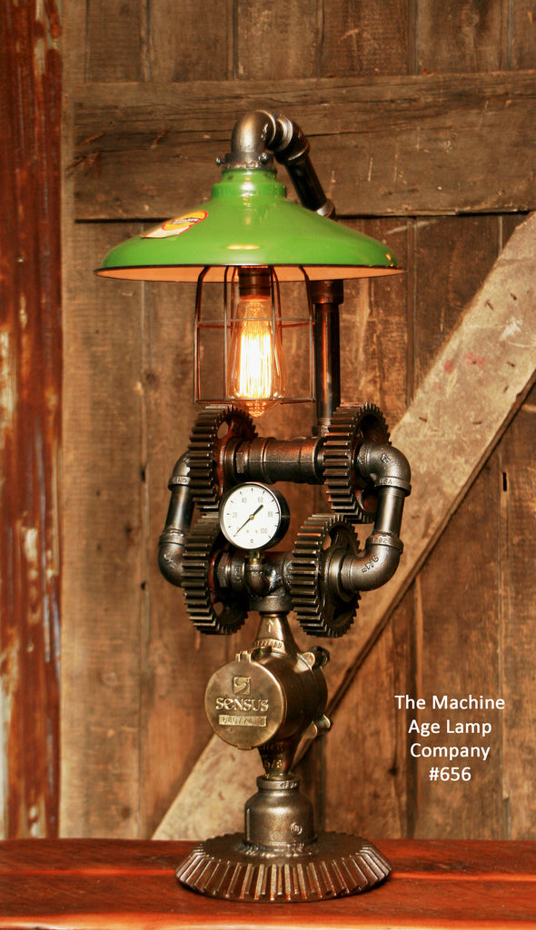 Steampunk Industrial Vintage Farm Gear Lamp, Light , #665