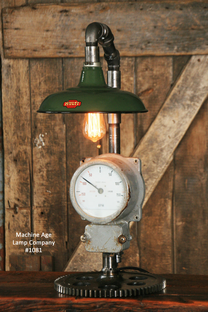 Steampunk Industrial Nautical Marine Ship Gauge Lamp - #1081 - SOLD