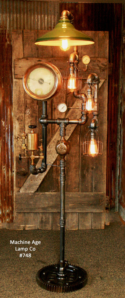 Steampunk Industrial Floor Lamp Steam Gauge 748