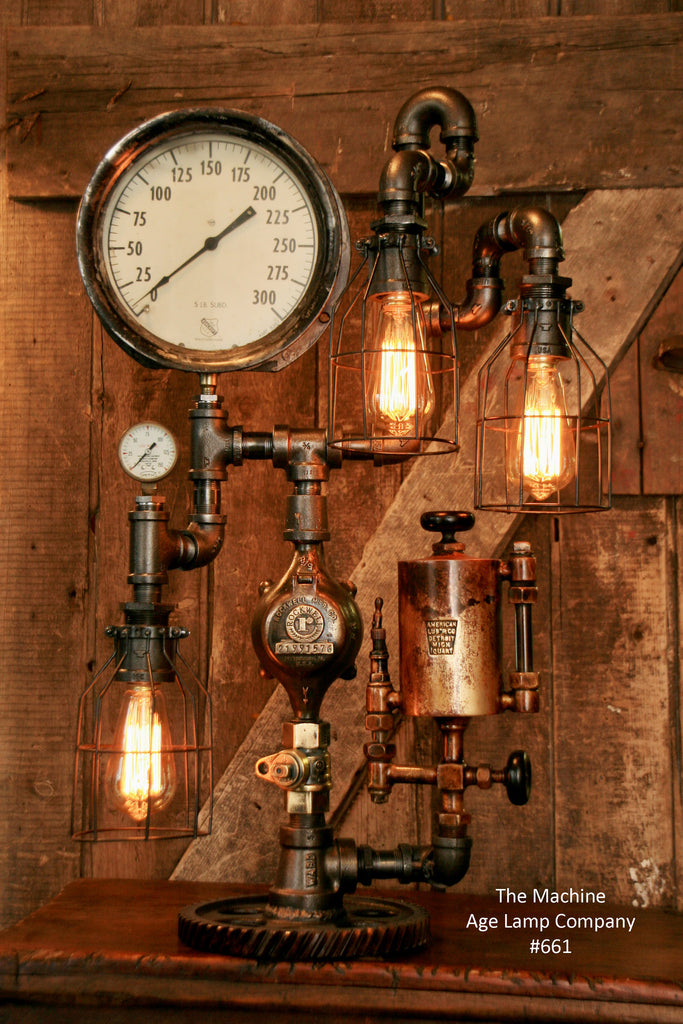 Steampunk Industrial Steam Gauge Lamp, American Oiler, #661 - Sold
