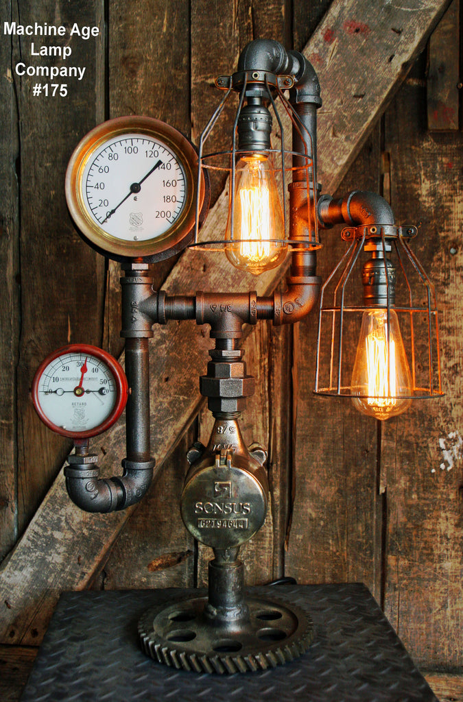 Steampunk Lamp, Antique Steam Gauge and Gear Base #175 - SOLD