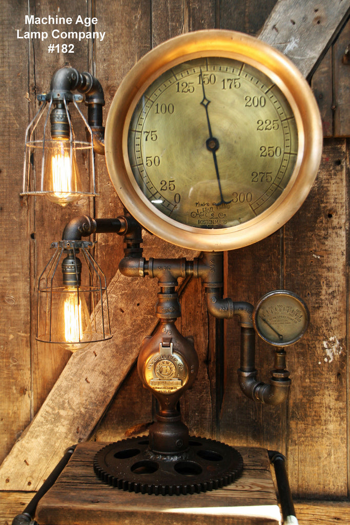"Steampunk Lamp, Antique 14"" Steam Gauge and Gear Base #182 - SOLD"