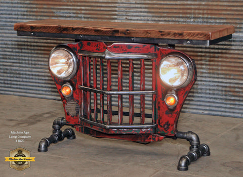 beautiful steampunk industrial original vintage us jeep willys grille table  sofa hallway red with steampunk furniture.