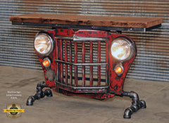 Steampunk Industrial / Original vintage 50's Jeep Willys Grille / Table Sofa Hallway / RED / Table #1870