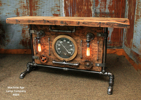 Steampunk Industrial Table, Lamp Stand, Console, Barn wood & Steam Gauge - #884
