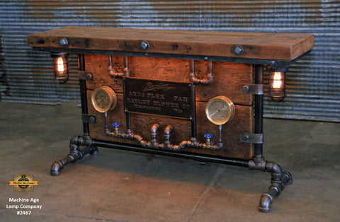 Steampunk Industrial / Barn Wood / Table / Console / Bar / Lighted / Table #2467