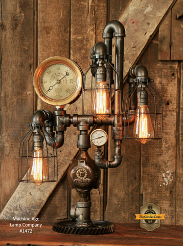 Steampunk Industrial Steam Gauge Lamp / New York / Boston  #1472