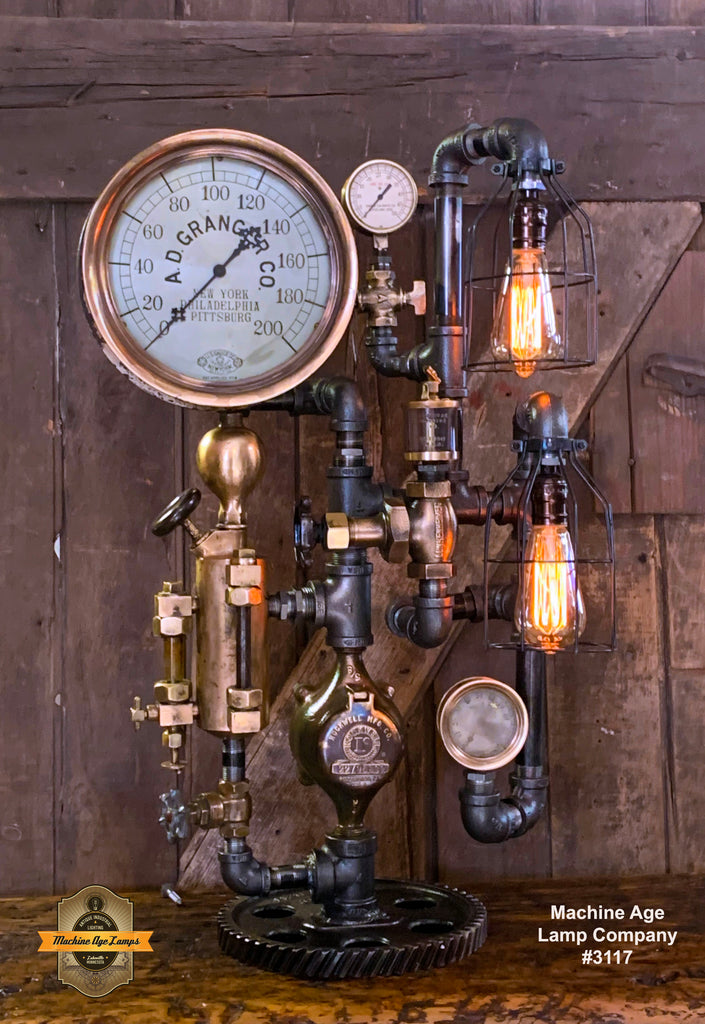 Steampunk Industrial / Steam Gauge Lamp / New York / Oiler / Lamp #3117