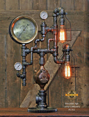 Steampunk Industrial Lamp / Antique Steam Gauge / Railroad / Lamp #1761 sold