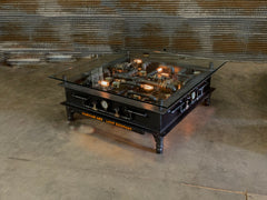 "Steampunk Industrial / Steel I Beam Coffee Table  / 48"" Square Glass Top  / Table #3052"