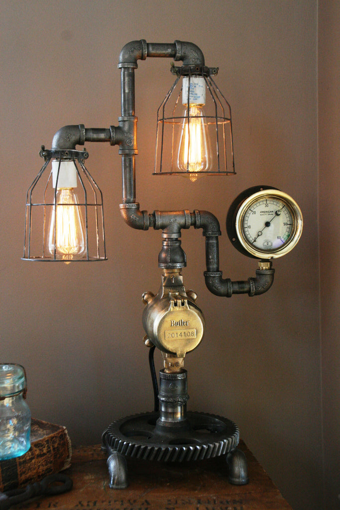 Steam Gauge Gear Lamp - SOLD