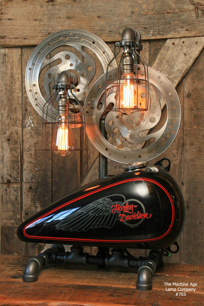 Superb Steampunk Industrial Lamp, Harley Davidson Motorcycle Gas Tank #703   SOLD