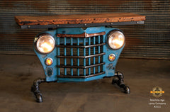 Steampunk Industrial / Automotive / Original vintage 50's Jeep Willys Grille / Table Sofa Hallway / Table #2511