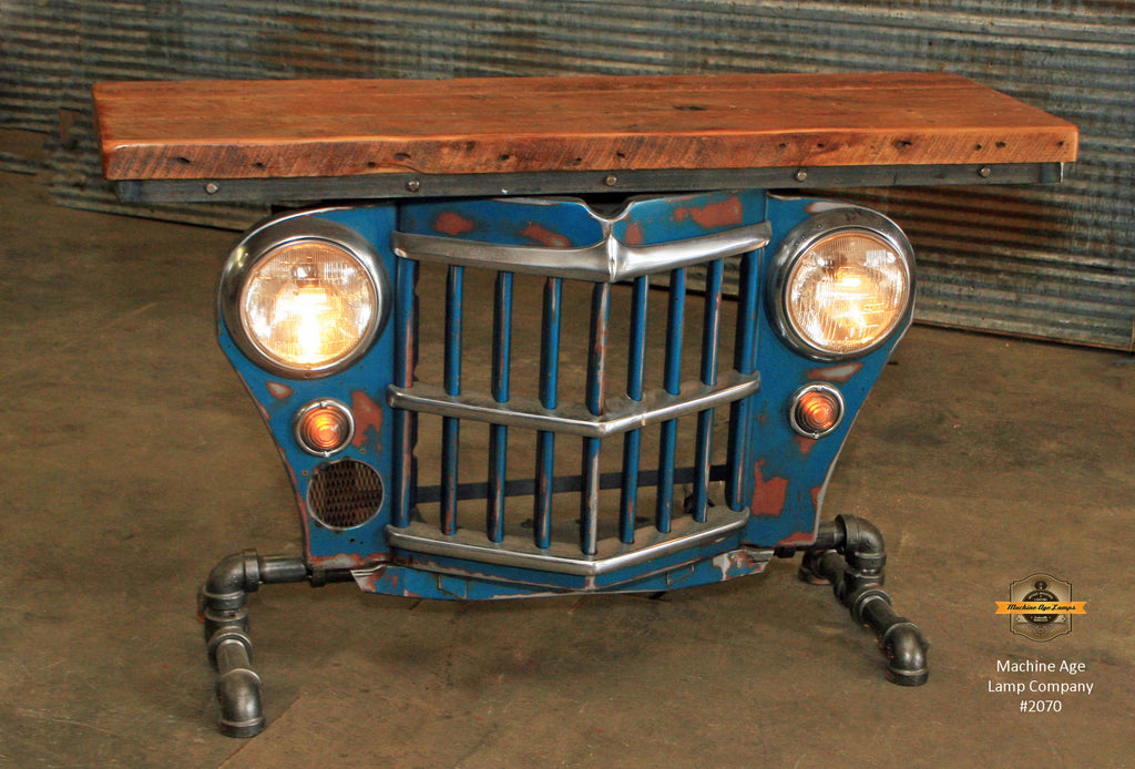 Industrial Antique Jeep CJ Military Willys Grille Table, Console, Table #2070