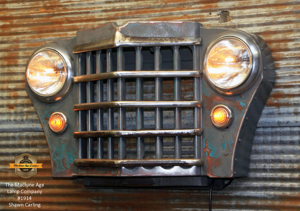 Steampunk Industrial Light / Antique CJ Willys Jeep Grille / Wall Sconce Hanger / Lamp #1914