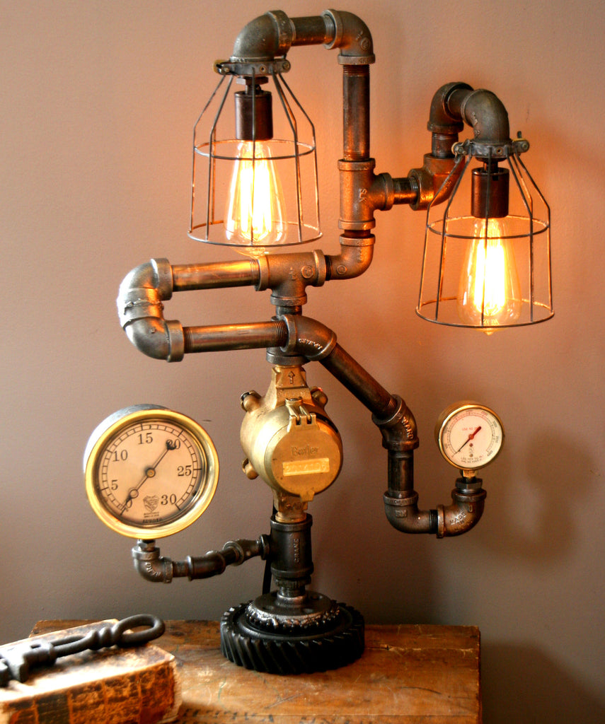 Dual Steam Gauge Lamp - #15 SOLD