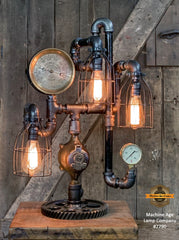 Steampunk Industrial / Machine Age Lamp / Antique Steam Gauge  /  Lamp #2790