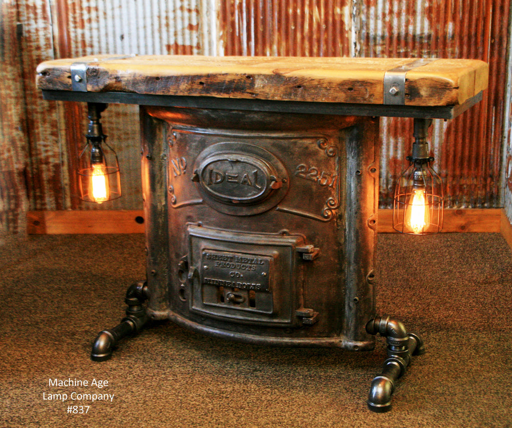 Steampunk Industrial Boiler Door Console Table Or Lamp Stand, #837   SOLD