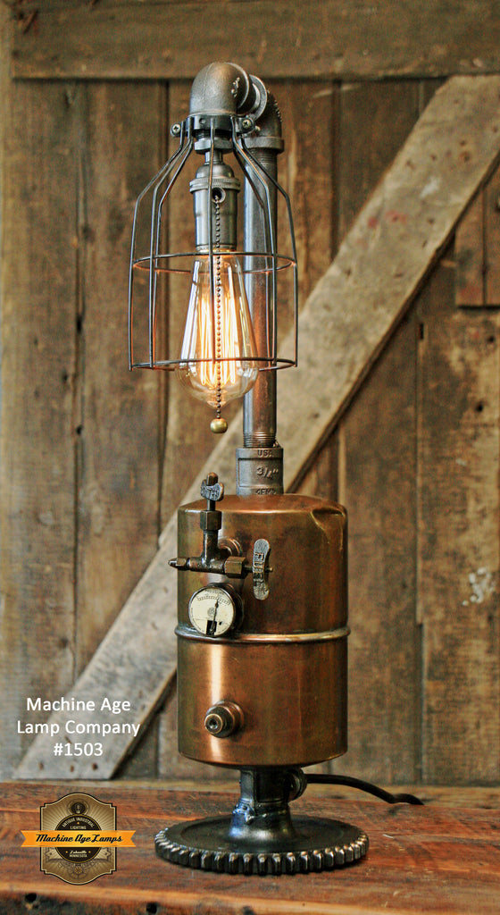 Steampunk Industrial / Brass Fuel Tank / Gas Lighting / Gear / Lamp #1503