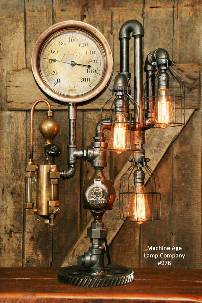 Steampunk Industrial, Steam Gauge and Oiler, Lamp,  Des Moines, Iowa #976