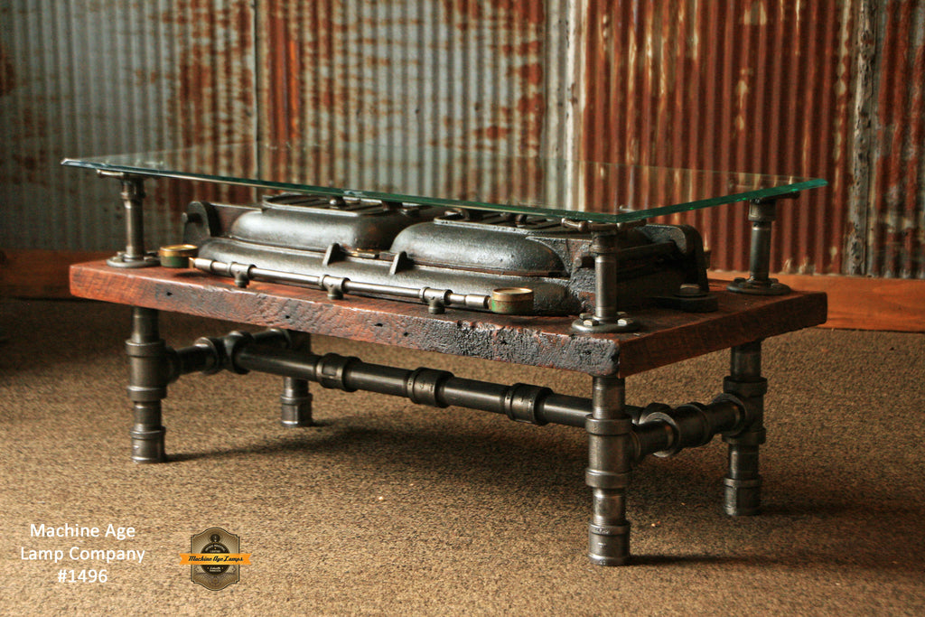 Steampunk Antique Industrial / Coffee Table / Barn Wood / Boiler Door #1496    SOLD