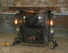 Industrial Steampunk Table / Antique Barnwood / Steam Gauges / Round Oak Boiler Stove / Table 1812