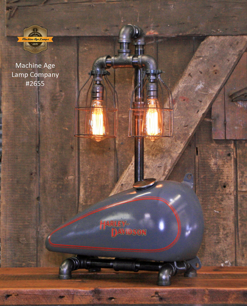 Steampunk Industrial, Motorcycle HD Gas Tank Lamp  #2655