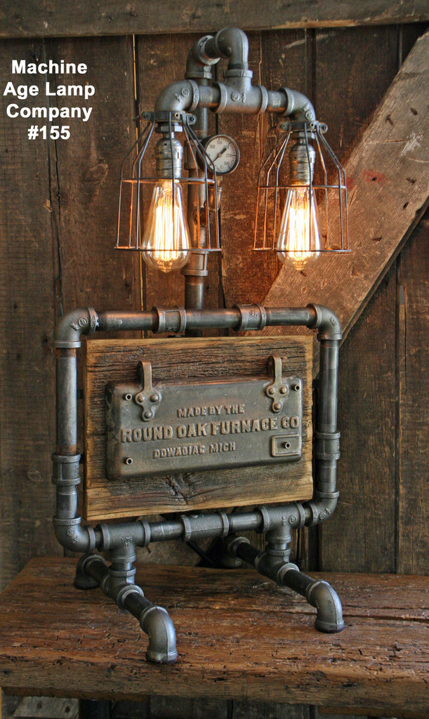 Steampunk Lamp, Barn Wood and Pressure Gauge - #155 - SOLD