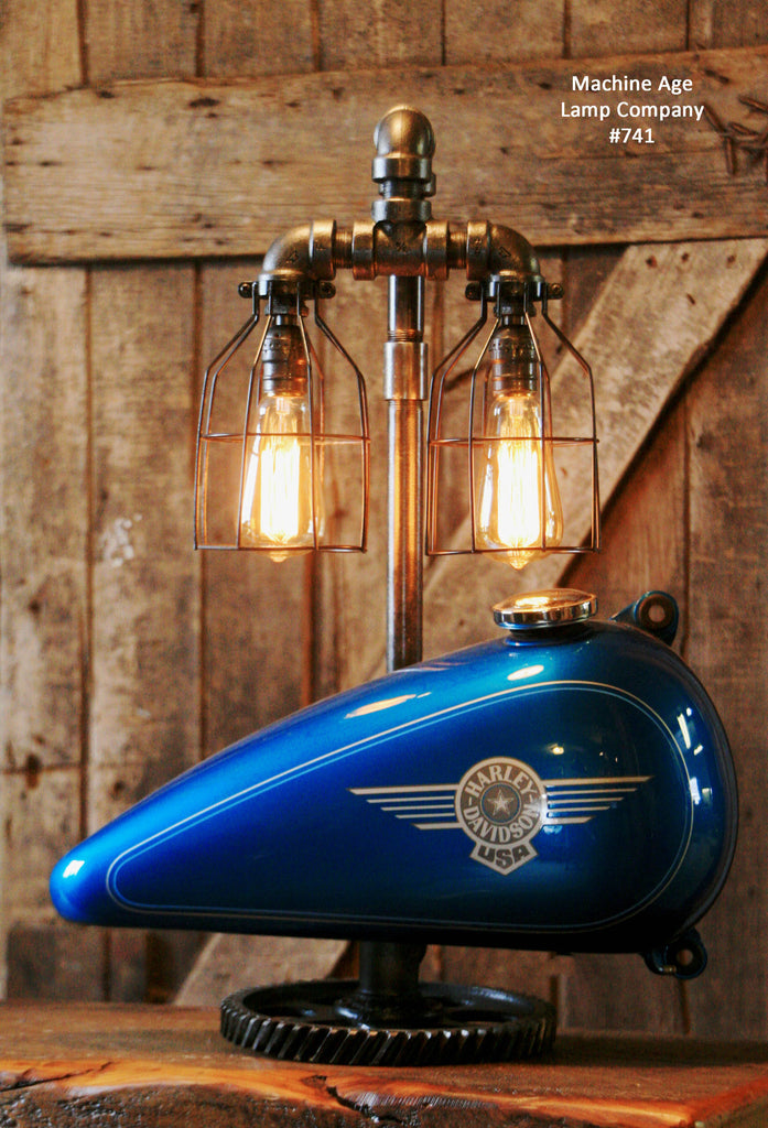 Steampunk Industrial Lamp, Harley Davidson Motorcycle Gas Tank #741   SOLD